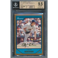 2007 Bowman Draft Future's Game Prospects Gold #BDPP77 Clayton Kershaw (BGS 9.5)