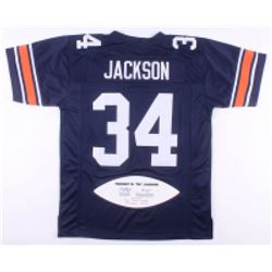 "Bo Jackson Signed LE Auburn Tigers Jersey with Career Stat Football Panel Inscribed ""Heisman 85"" (JS"