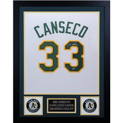 Jose Canseco Signed Oakland Athletics 24x30 Custom Framed Jersey (Leaf COA)