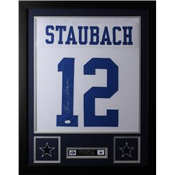 Roger Staubach Signed Dallas Cowboys 24x30 Custom Framed Jersey (JSA COA)