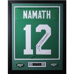 Joe Namath Signed New York Jets 24x30 Custom Framed Jersey (JSA COA)