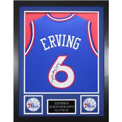 Julius Erving Signed Philadelphia 76ers 24x30 Custom Framed Jersey (JSA COA)