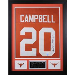 "Earl Campbell Signed Texas Longhorns 24x30 Custom Framed Jersey Inscribed ""HT 77"" (JSA COA)"