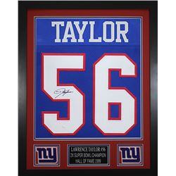 Lawrence Taylor Signed New York Giants 24x30 Custom Framed Jersey (JSA COA)