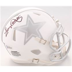 Tony Dorsett Signed Dallas Cowboys White ICE Speed Mini Helmet (Beckett COA)
