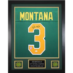 Joe Montana Signed Notre Dame Fighting Irish 24x30 Custom Framed Jersey (JSA COA  Montana Hologram)