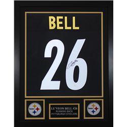 Leveon Bell Signed Pittsburgh Steelers 24x30 Custom Framed Jersey (JSA COA)