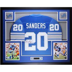 "Barry Sanders Signed Lions 35"" x 43"" Custom Framed Jersey (JSA COA)"
