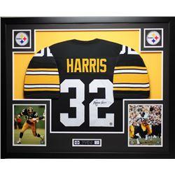 Franco Harris Signed Pittsburgh Steelers 35x43 Custom Framed Jersey Display (JSA COA  Harris Hologra