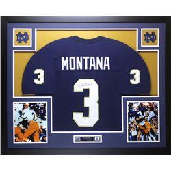 "Joe Montana Signed Notre Dame Fighting Irish 35"" x 43"" Custom Framed Jersey (JSA COA)"