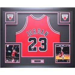 "Michael Jordan Signed Bulls 35"" x 43"" Custom Framed Jersey (UDA COA)"