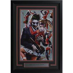 """Greg Horn Signed """"Harley Quinn  Joker"""" 17x25 Custom Framed Lithograph Display (JSA COA)"""
