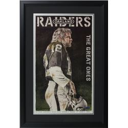 "Ken Stabler ""Oakland Raiders: The Great Ones"" 20x29 Custom Framed Lithograph Display Signed by Artis"