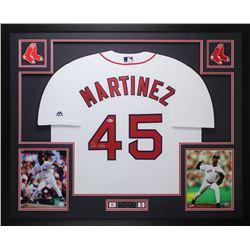 Pedro Martinez Signed Red Sox 35x43 Custom Framed Jersey Display (Beckett COA)
