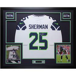 "Richard Sherman Signed Seahawks 35"" x 43"" Custom Framed Jersey (Sherman COA)"