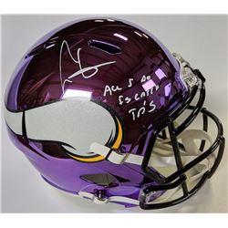 """Cris Carter Signed Minnesota Vikings Chrome Full-Size Speed Helmet Inscribed """"All I Do Is Catch TD's"""