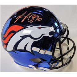 Phillip Lindsay Signed Denver Broncos Chrome Full-Size Speed Helmet (Beckett COA)
