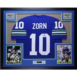 Jim Zorn Signed Seattle Seahawks 35x43 Custom Framed Jersey (Mill Creek Sports COA)