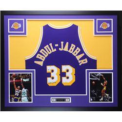 Kareem Abdul-Jabbar Signed Los Angeles Lakers 35x43 Custom Framed Jersey (Beckett COA)