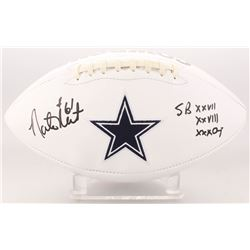 "Nate Newton Signed Dallas Cowboys Logo Football Inscribed ""SB XXVII XXVIII XXX Champ"" (JSA COA)"