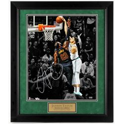 "Jayson Tatum Signed Boston Celtics ""Dunks on LeBron"" 23.25x27.25 Custom Framed Photo (Fanatics Holog"
