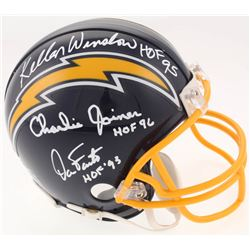 "Kellen Winslow, Charlie Joiner  Dan Fouts Signed San Diego Chargers Mini-Helmet Inscribed ""HOF 95"","