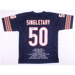 "Mike Singletary Signed Chicago Bears Career Highlight Stat Jersey Inscribed ""HOF 98"" (JSA COA)"