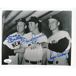 Mickey Mantle, Bobby Murcer  Roger Maris Signed New York Yankees 8x10 Photo (JSA LOA)