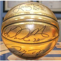 Michael Jordan, Karl Malone, Larry Bird  Magic Johnson Signed Molten Gold Trophy Basketbal (UDA COA)