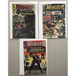 "Lot of (3) 1965 ""The Avengers"" First Issue Marvel Comic Books with Issue #17, Issue #18  Issue #19"