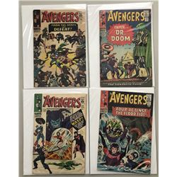 "Lot of (4) 1966 ""The Avengers"" First Issue Marvel Comic Books with Issue #24, Issue #25, Issue #26"