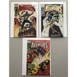 "Lot of (3) 1969 ""The Avengers"" First Issue Marvel Comic Books with Issue #63, Issue #64  Issue #65"
