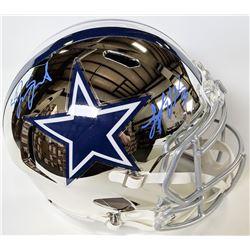 Leighton Vander Esch  Jaylon Smith Signed Dallas Cowboys Full-Size Chrome Speed Helmet (JSA COA)