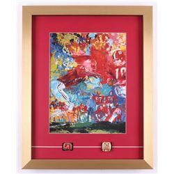 "LeRoy Neiman ""Bear Bryant"" 16x20 Custom Framed Print Display with (2) Replica Rings"