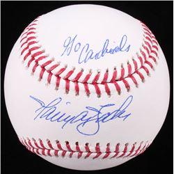 """Harrison Bader Signed OML Baseball Inscribed """"Go Cardinals"""" (JSA COA)"""