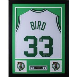Larry Bird Signed Boston Celtics 24x30 Custom Framed Jersey (PSA COA)
