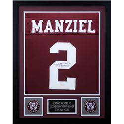 Johnny Manziel Signed Texas AM Aggies 24x30 Custom Framed Jersey (JSA COA)