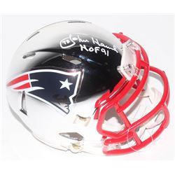 "John Hannah Signed New England Patriots Chrome Speed Mini Helmet Inscribed ""HOF 91"" (Schwartz COA)"