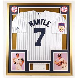 "Mickey Mantle Signed New York Yankees 32x36 Custom Framed Cut Inscribed ""No. 7"" (PSA LOA)"