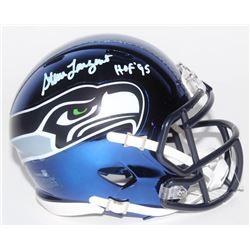 """Steve Largent Signed Seattle Seahawks Chrome Speed Mini Helmet Inscribed """"HOF '95"""" (Schwartz COA)"""