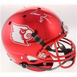"Lamar Jackson Signed Louisville Cardinals Full-Size Red Chrome Helmet Inscribed ""'16"" (Schwartz Spor"