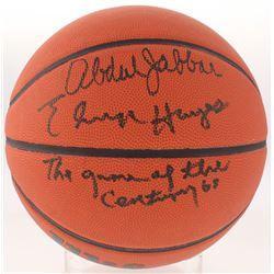 "Kareem Abdul  Elvin Hayes Signed Basketball Inscribed ""The Game of the Century"" (Schwartz COA)"