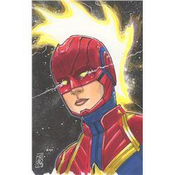 """Tom Hodges - Captain Marvel - Marvel Signed ORIGINAL 5.5"""" x 8.5"""" Color Drawing on Paper (1/1)"""