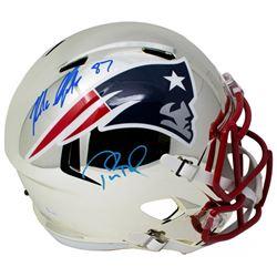 Tom Brady  Rob Gronkowski Signed New England Patriots Full-Size Chrome Speed Helmet (Tristar Hologra