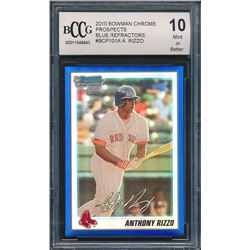 2010 Bowman Chrome Prospects Blue Refractors #BCP101A Anthony Rizzo (BCCG 10)