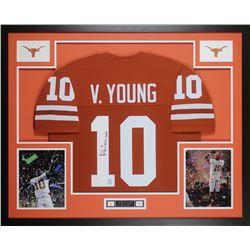 "Vince Young Signed Texas Longhorns 35x43 Custom Framed Jersey Inscribed ""05 Nat'l Champs""  (JSA COA"