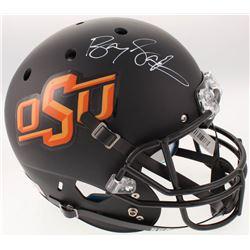 Barry Sanders Signed Oklahoma State Cowboys Full-Size Matte Black Helmet (Schwartz Sports COA)