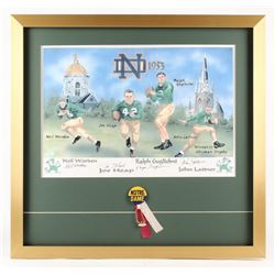 1953 Notre Dame Backfield 23x24 Custom Framed Lithograph Display Signed by (4) with Johnny Lattner,