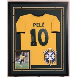 Pele Signed Team Brazil 34x42 Custom Framed Jersey (PSA COA)