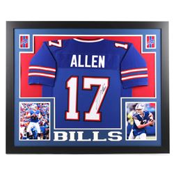 Josh Allen Signed Buffalo Bills 35x43 Custom Framed Jersey (JSA COA)